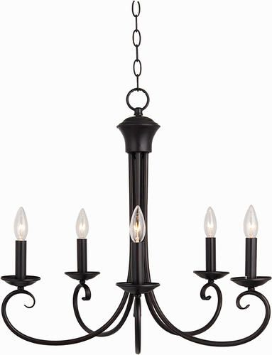 Pyramid Creations Loft 25 Oil Rubbed Bronze 5 Light Single Tier Chandelier At