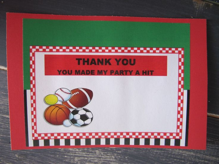 Sports Party Thank You Cards