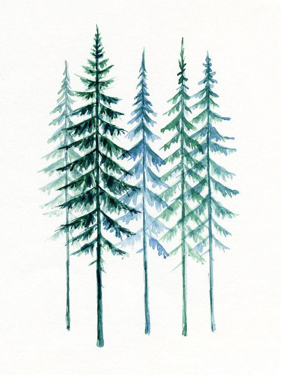 Evergreen Trees Printable Wall Art Scandinavian Pine Trees