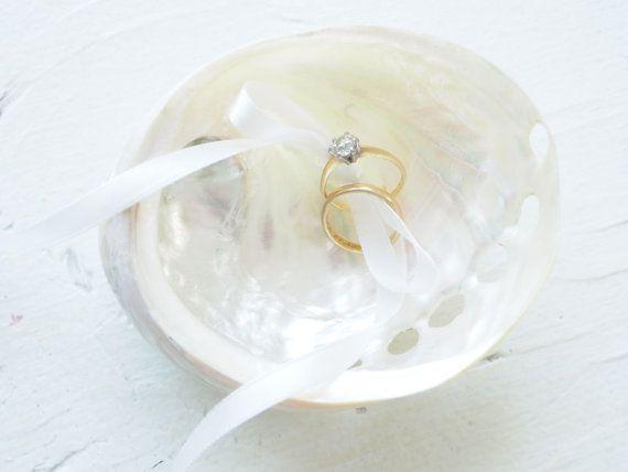Shell Ring Pillow Wedding Beautiful White by FairyfolkWeddings