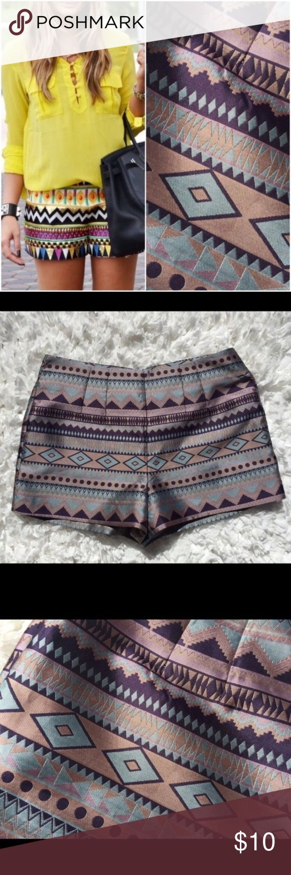 """Love 21 Aztec Tribal Festival Print Dress Shorts {Love 21} Aztec Tribal Festival Print Dress Shorts  Gorgeous Love 21 Aztec Tribal Print Dressy Shorts size S. Shorts are lined. Zips up back and has hook/eye closure. Waist approx 30"""". Style photo is not mine and is for style suggestions only. Love 21 Shorts"""