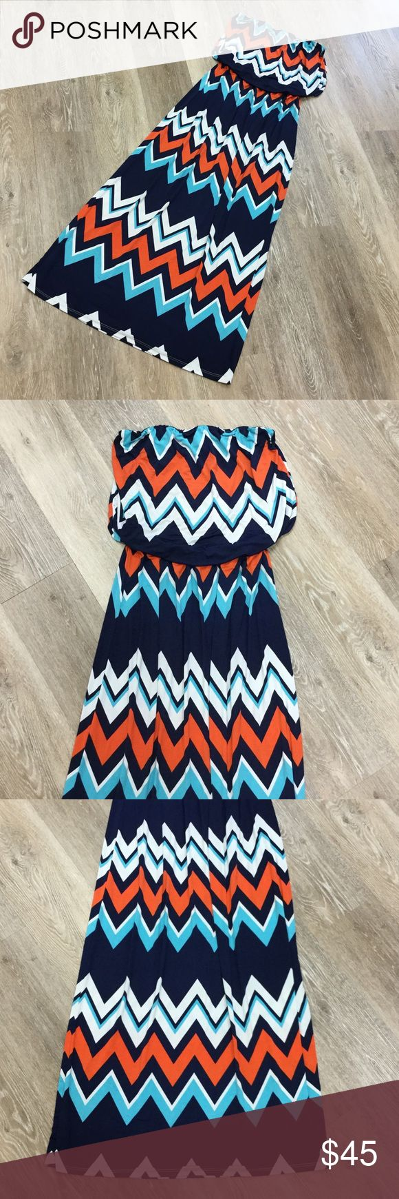 Women's Blue and Orange Chevron Strapless Dress Women's size Medium orange and blue chevron dress. No tags. Bought from a Boutique. Excellent condition.   👠Unless otherwise stated NWT, all items are from my PERSONAL closet and GENTLY used. Please do not expect UC to look NWT. 👠  💋Please ask any questions you may have BEFORE purchase.💋  ❤️Bundle together for the best deal!! ❤️  ❗️PLEASE USE THE OFFER BUTTON TO SUBMIT OFFERS.❗️  🎀As always HAPPY POSHING. 🎀 Dresses Strapless