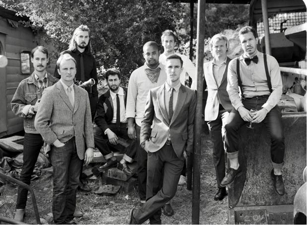 this is a picture of the groomsmen at a wedding...i don't know why this photo totally intrigues me, besides there being attractive men...really good picture.