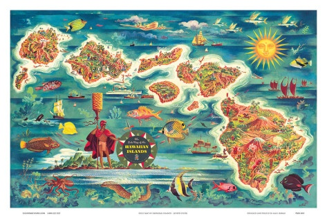 Dole Map of the Hawaiian Islands c.1950 Art Print