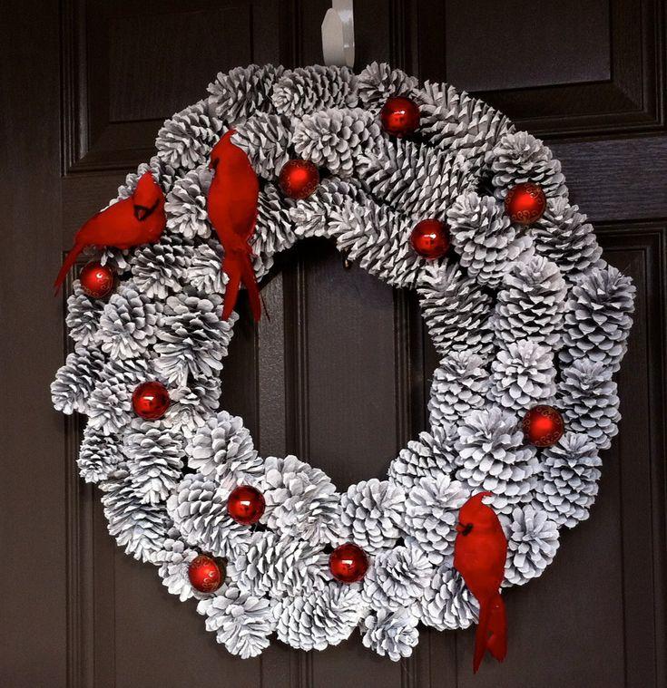 Christmas Wreath, Pine Cone Wreath, Holiday Wreath, Bird Wreath, Snowy Wreath by CraftElegance on Etsy