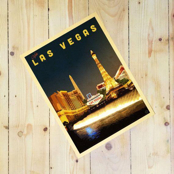 Las Vegas Strip By Night. Wall Art, Giclee Print, Vintage Style, Cityscape…