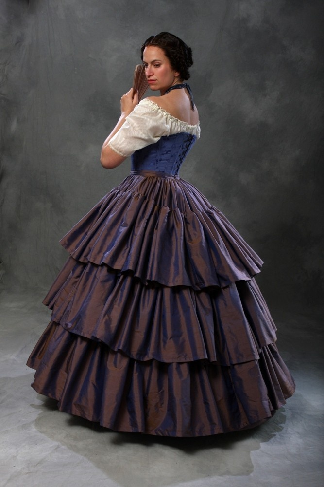 c.1860 Civil War Debutante Ball Blue Silk Ruffled Skirt and Hoop Petticoat. $855.00, via Etsy.    I have had my eye on this for years - I will never own it though :(