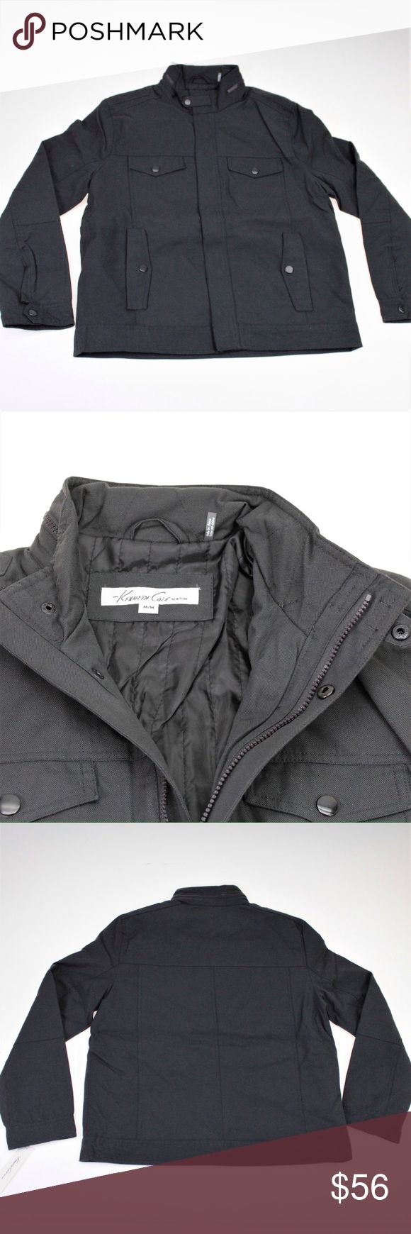 Kenneth Cole Gray Canvas Bomber Jacket Stay warm and look great in this handsome and rugged military bomber jacket by Kenneth Cole.This jacket has a full zip front with snap overlay and standing collar with zip detail. 55% Nylon, 45% Cotton. Kenneth Cole Jackets & Coats Bomber & Varsity