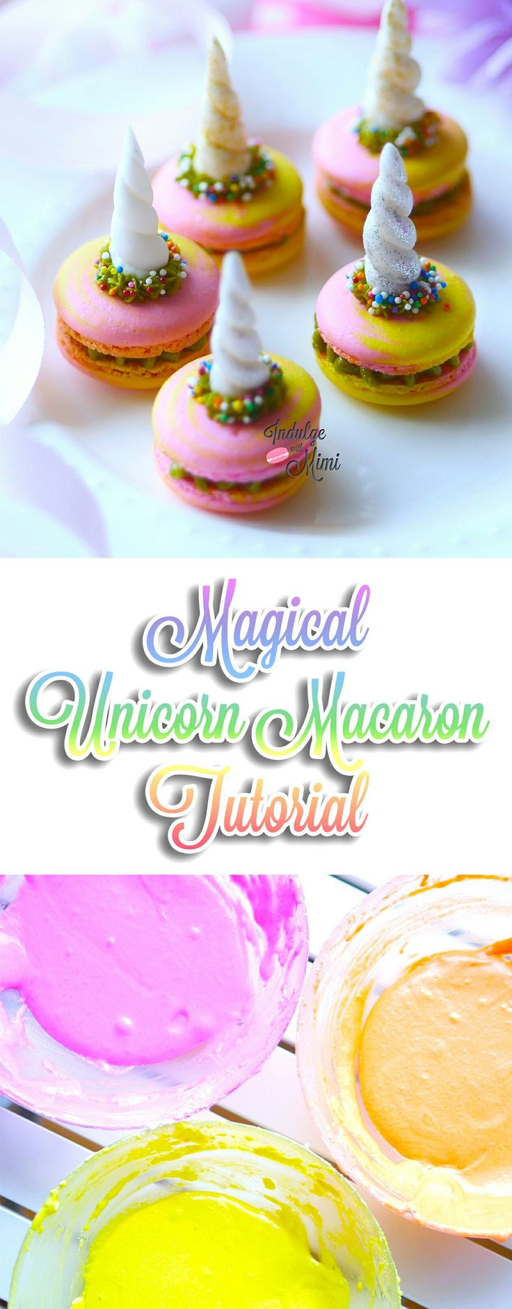 Magical Tri-Color Unicorn Macaron Tutorial with Recipe and Video