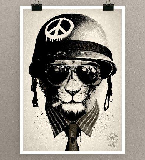 glassesLion, Rhys Owens, Digital Illustration, Hidden Moving, Peace, Digital Art, Offices Warfare, Character Design, Prints