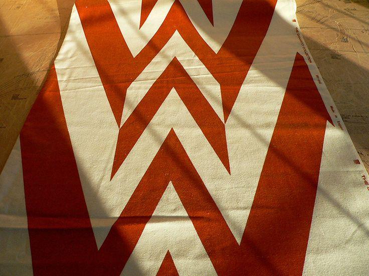 1970s Giant Zig Zag Fabric. Retro Tan Brown & White. Home Furnishing The Danasco…