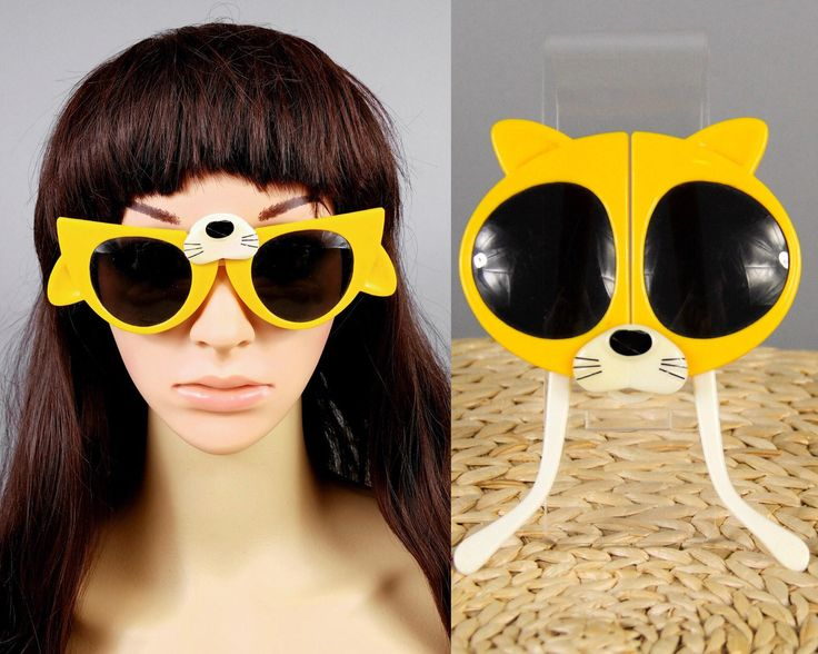80s Vintage Cat Novelty Sunglasses, Retro Folding Sunglasses, Cat Costume Mask, Cat Lady Gifts, Funky Kids Sun Glasses Oversized Frames