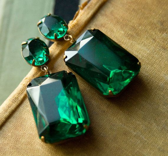 Angelina Jolie Earrings   Emerald Green Large by ellabelleboutique