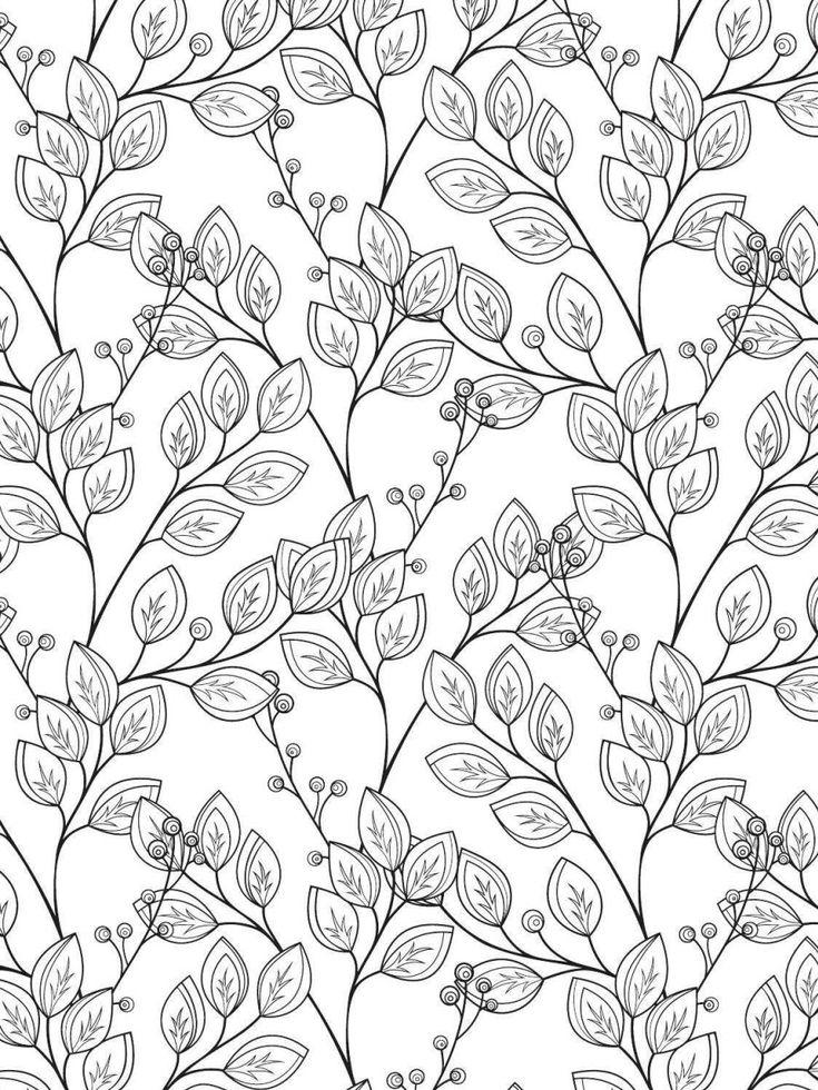 Раскраска антистресс - узоры - листья и ягодки