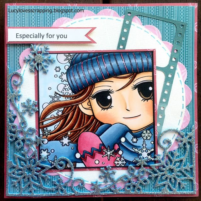 Lucy loves scrapping: Art by Miran image, cute winter scene handmade greeting card