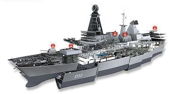 HMS DauntlessAntiaéreo  • Sistema de misiles Sea Viper  Radar de seguimiento aéreo multifunción SAMPSON  Radar de vigilancia aérea 3D S1850M  48 × misiles MBDA Aster (mezcla de Aster 15 y Aster 30) en seis lanzadores verticales SYLVER A50 de 8 celdas (Systeme de Lancement Vertical).