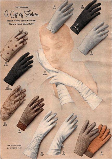 Vintage Sears catalog page for Kerrybrooke gloves. #vintage #gloves #fashion