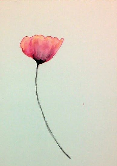 Watercolor Poppy in Red, Coral and Pink