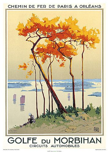 Golfe du Morbihan, Bretagne . Vintage travel beach poster #plage àaffiche #essenzadiriviera.com