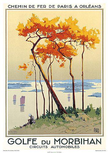 Vieille affiche touristique vantant les mérites du Golfe du Morbihan, Bretagne.