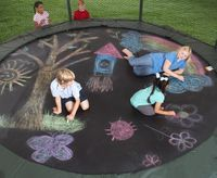 Sidewalk chalk on a trampoline. Idea options: add birthday greeting, trampoline rules