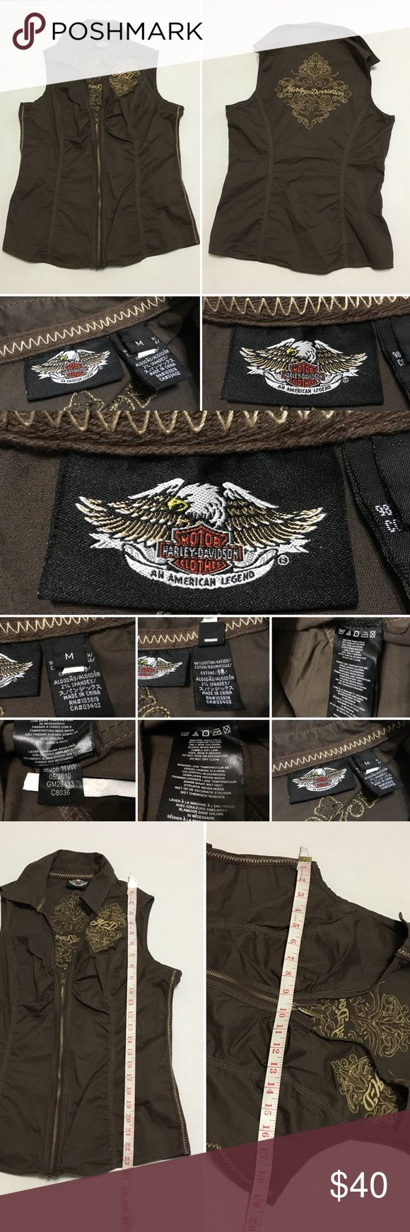 Harley Davidson vest top logo Zip embroidery stud Harley Davidson women vest top size M Sleeveless Cotton logo Zip embroidery stud.  Very good used condition.  Front zipper with logo Hardware zipper pull.  Gorgeous embroidery with brass look studs embellished.  Contrast stitches.  Smoke and pet free. Measurements included for proper fit. Harley-Davidson Jackets & Coats Vests