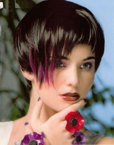 Purple Hair Highlights and Black Hair 2014
