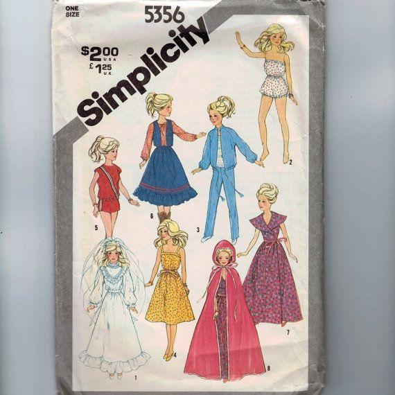 Puppe nähen Muster Einfachheit 5356 11 1/2 Zoll Puppe Barbie Braut Hochzeit Kleid Kleiderschrank Party Kleid Hose zugeschnittene Top 1981-80er Jahre