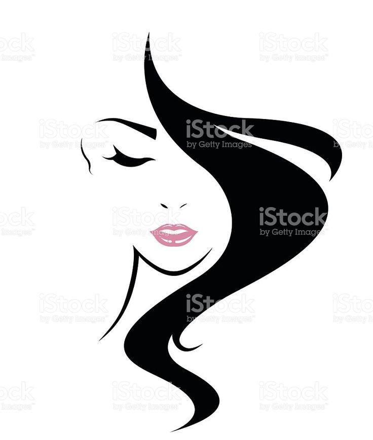 Capelli lunghi icona di stile, logo donna viso illustrazione royalty-free