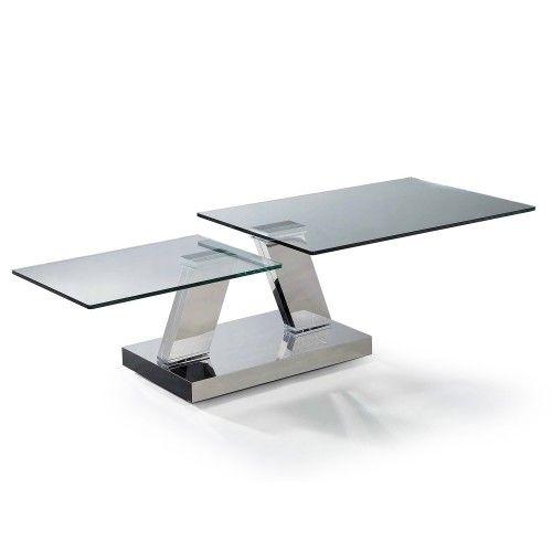 Modern Rectangular Swivel Glass Coffee Table Lombard.