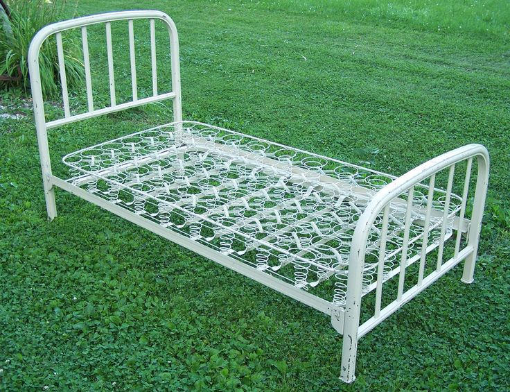 vintage metal twin bed frame springs in indiana dormitory hospital