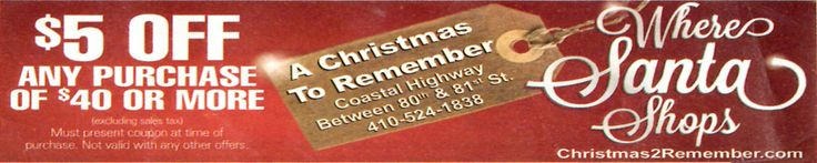 A Christmas To Remember Coupons...  #oceancitycool #occoupons #coupons