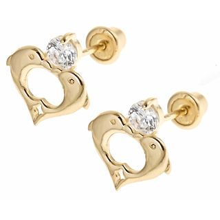 14K Yellow Gold Heart Dolphin Screwback Earrings for Girls from www.thejewelryvine.com