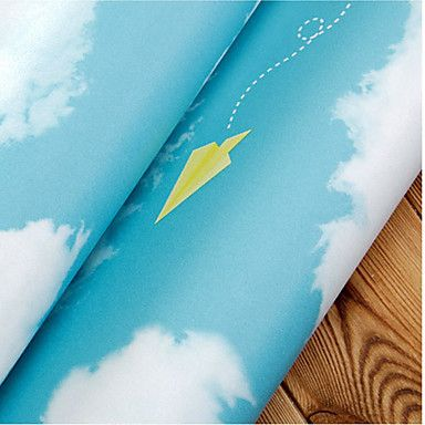 Blue Wallpaper for Home Wall Covering PVC Wall Art Sticker – AUD $ 71.49