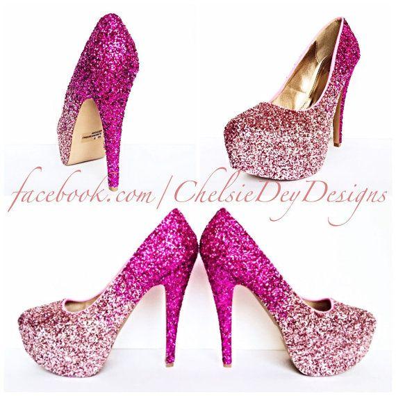 Glitter High Heels Hot Pink Pumps Light by ChelsieDeyDesigns