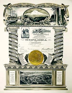 Oversized diploma awarded by the State of Oregon to exhibitors at the fair. The image at the bottom represents a bird's-eye view of the fairgrounds. (Courtesy Oregon State Archives)