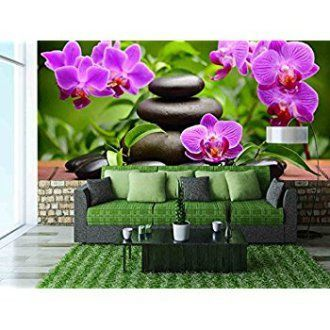 wall26 - Zen Basalt Stones and Orchid - Removable Wall Mural | Self-adhesive Large Wallpaper - 100x144 inches