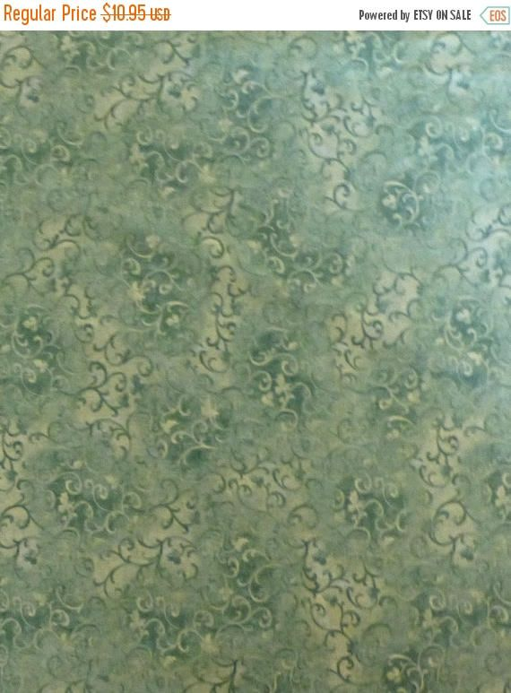 YEAR END SALE Cotton Fabric, Home Decor, Quilt, Essential Scrolls, Medium Green Danhi Nai for Wilmington Prints, Fast Shipping