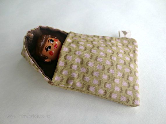 Mini Sleeping Bag for Little Figurines ~ perfect for sparking imaginative play in children! by LittleWorldsShop on Etsy