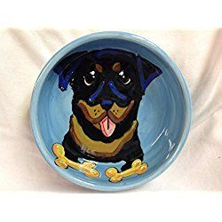 "Rottweiler 10"" Ceramic Dog Bowl for Food and Water. Personalized at no Charge. Signed by Artist, Debby Carman."