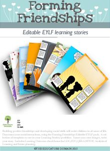 Document your social interactions, using the Forming Friendships Editable EYLF pack.  A collection of templates to use in your Learning Stories/portfolios.  Insert your own images, write your story.
