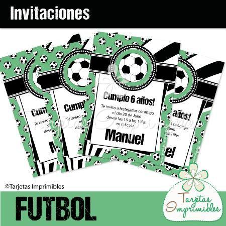 Invitaciones II FUTBOL Blanco y negro  - Tarjetas Imprimibles