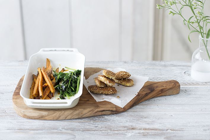 Spinazie en zoete aardappel uit de oven met sesamkip • Nooit meer diëten