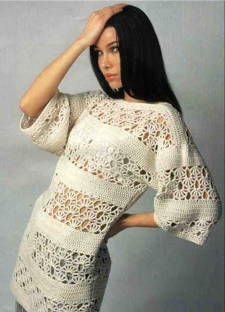 Long Beige 3/4 Length Sleeve Top with Motif free crochet graph pattern