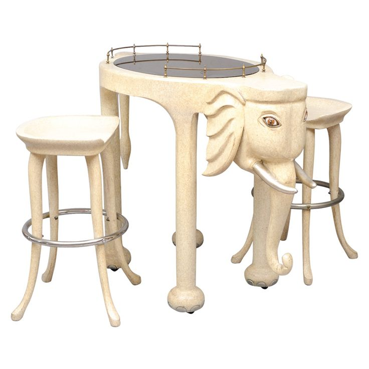 marge carson elephant hightop bar table and stools