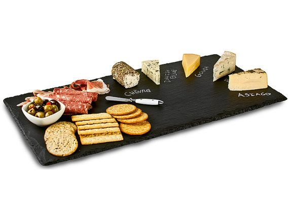 slate cheese board gift set with handles rope