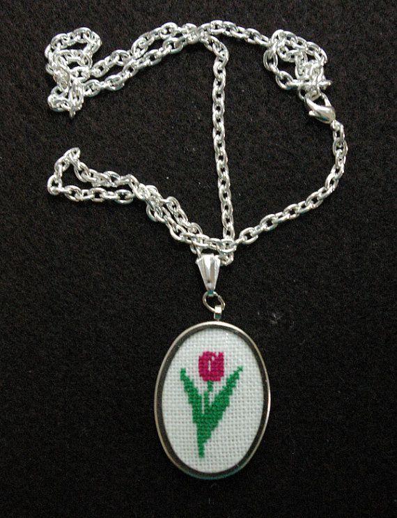 Pink Tulip Silvertone Cross Stitch Pendant by BlueTopazStitchery, $23.00