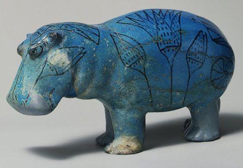 Statuette of a Hippopotamus, Middle Kingdom, Dynasty 12, ca. 1981–1885 b.c. Egyptian; Middle Egypt, Meir Faience