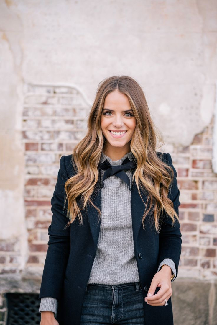 Gal Meets Glam Bow Sweater & Classic Black Coat - Joseph coat, J.Crew sweater & Frame jeans