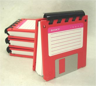 Floppy Disk Note Pad - RED - Recycled 3.5 Diskettes Great Geek Gift #disk #notepad #recyclable #geekery #gift #etsy